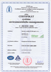 certifikát ČNS EN ISO 14001:2005