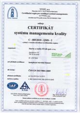 certifikát ČNS EN ISO 9001:2009